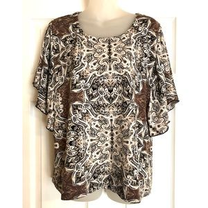 JM Collection Printed Blouse with Flutter Sleeves